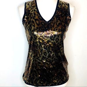 Verve sleeveless top with gold & black sequins.